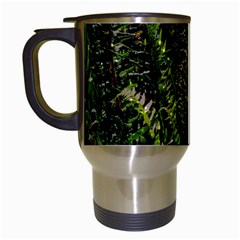 Green Leaves Psychedelic Paint Travel Mugs (White)