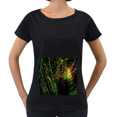 Green Leaves Psychedelic Paint Women s Loose-Fit T-Shirt (Black)