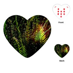 Green Leaves Psychedelic Paint Playing Cards (Heart)