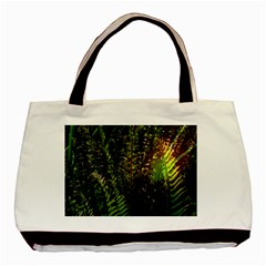 Green Leaves Psychedelic Paint Basic Tote Bag