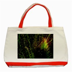 Green Leaves Psychedelic Paint Classic Tote Bag (Red)