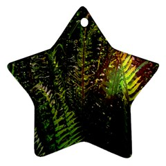 Green Leaves Psychedelic Paint Star Ornament (Two Sides)