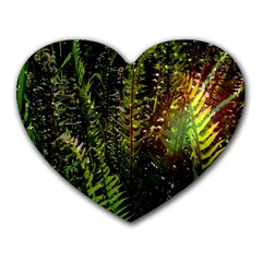 Green Leaves Psychedelic Paint Heart Mousepads