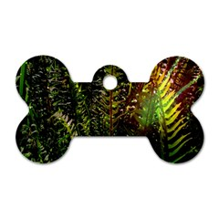 Green Leaves Psychedelic Paint Dog Tag Bone (Two Sides)