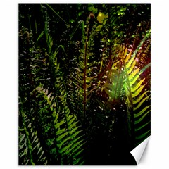 Green Leaves Psychedelic Paint Canvas 11  x 14