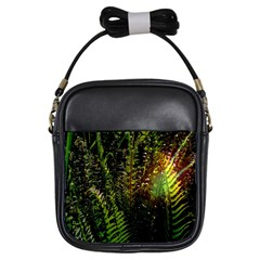 Green Leaves Psychedelic Paint Girls Sling Bags