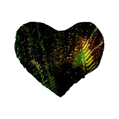 Green Leaves Psychedelic Paint Standard 16  Premium Heart Shape Cushions