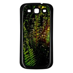 Green Leaves Psychedelic Paint Samsung Galaxy S3 Back Case (Black)