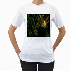 Green Leaves Psychedelic Paint Women s T-Shirt (White)