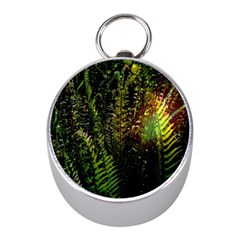 Green Leaves Psychedelic Paint Mini Silver Compasses