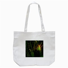 Green Leaves Psychedelic Paint Tote Bag (White)
