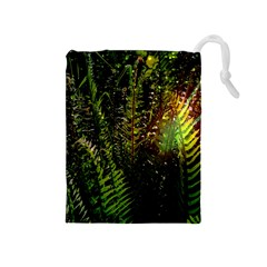 Green Leaves Psychedelic Paint Drawstring Pouches (Medium)