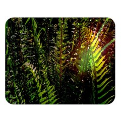 Green Leaves Psychedelic Paint Double Sided Flano Blanket (Large)