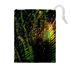 Green Leaves Psychedelic Paint Drawstring Pouches (Extra Large)