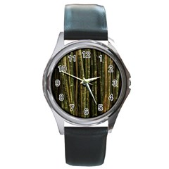 Green And Brown Bamboo Trees Round Metal Watch