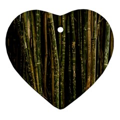 Green And Brown Bamboo Trees Ornament (Heart)