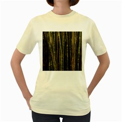 Green And Brown Bamboo Trees Women s Yellow T-Shirt