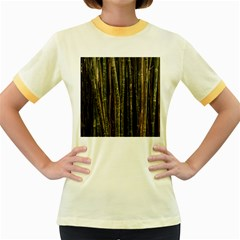Green And Brown Bamboo Trees Women s Fitted Ringer T-Shirts