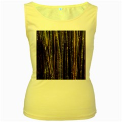 Green And Brown Bamboo Trees Women s Yellow Tank Top