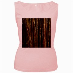 Green And Brown Bamboo Trees Women s Pink Tank Top