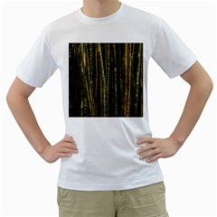 Green And Brown Bamboo Trees Men s T-Shirt (White) (Two Sided)