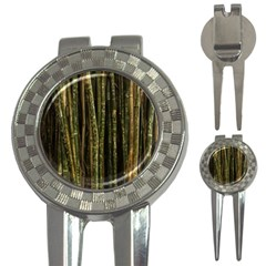 Green And Brown Bamboo Trees 3-in-1 Golf Divots