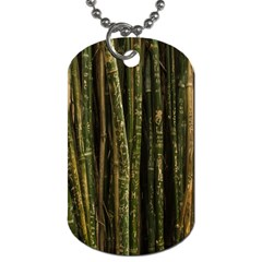 Green And Brown Bamboo Trees Dog Tag (one Side)