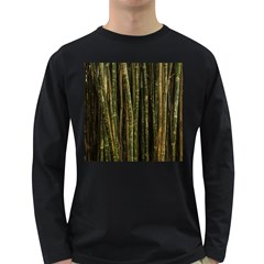 Green And Brown Bamboo Trees Long Sleeve Dark T-Shirts