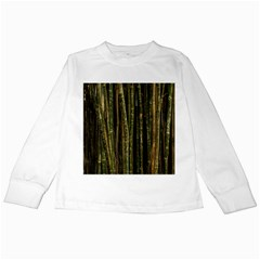 Green And Brown Bamboo Trees Kids Long Sleeve T-Shirts