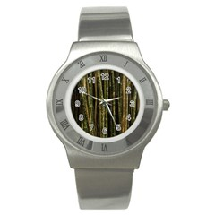 Green And Brown Bamboo Trees Stainless Steel Watch