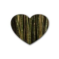Green And Brown Bamboo Trees Heart Coaster (4 pack)