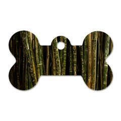 Green And Brown Bamboo Trees Dog Tag Bone (Two Sides)