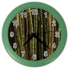 Green And Brown Bamboo Trees Color Wall Clocks
