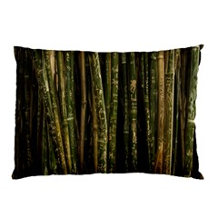 Green And Brown Bamboo Trees Pillow Case