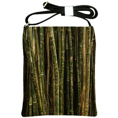 Green And Brown Bamboo Trees Shoulder Sling Bags