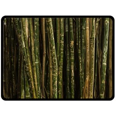 Green And Brown Bamboo Trees Fleece Blanket (Large)