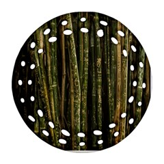 Green And Brown Bamboo Trees Round Filigree Ornament (Two Sides)