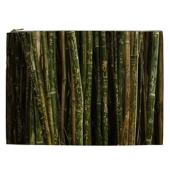 Green And Brown Bamboo Trees Cosmetic Bag (XXL)