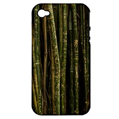 Green And Brown Bamboo Trees Apple iPhone 4/4S Hardshell Case (PC+Silicone)