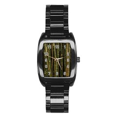Green And Brown Bamboo Trees Stainless Steel Barrel Watch