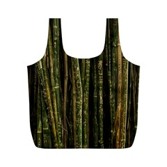 Green And Brown Bamboo Trees Full Print Recycle Bags (M)