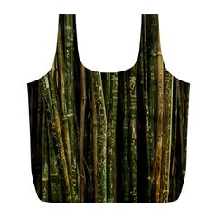 Green And Brown Bamboo Trees Full Print Recycle Bags (L)