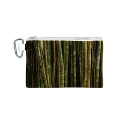 Green And Brown Bamboo Trees Canvas Cosmetic Bag (S)