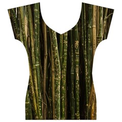 Green And Brown Bamboo Trees Women s V-Neck Cap Sleeve Top