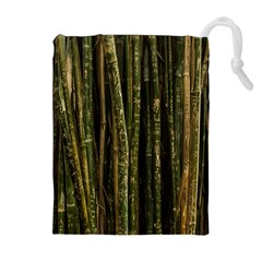 Green And Brown Bamboo Trees Drawstring Pouches (Extra Large)