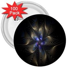 Fractal Blue Abstract Fractal Art 3  Buttons (100 pack)