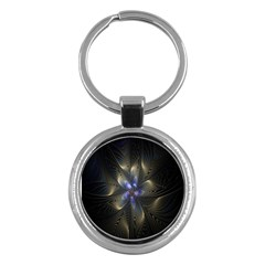 Fractal Blue Abstract Fractal Art Key Chains (Round)