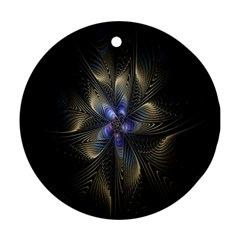 Fractal Blue Abstract Fractal Art Round Ornament (two Sides)