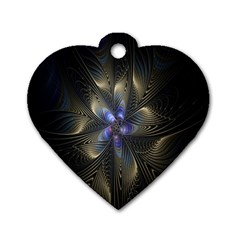 Fractal Blue Abstract Fractal Art Dog Tag Heart (two Sides)