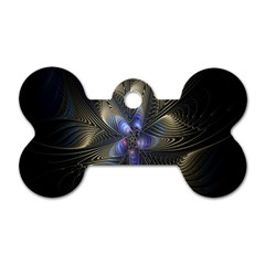 Fractal Blue Abstract Fractal Art Dog Tag Bone (two Sides)
